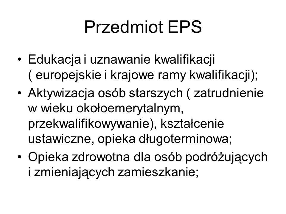Przedmiot EPS Edukacja i uznawanie kwalifikacji ( europejskie i krajowe ramy kwalifikacji);