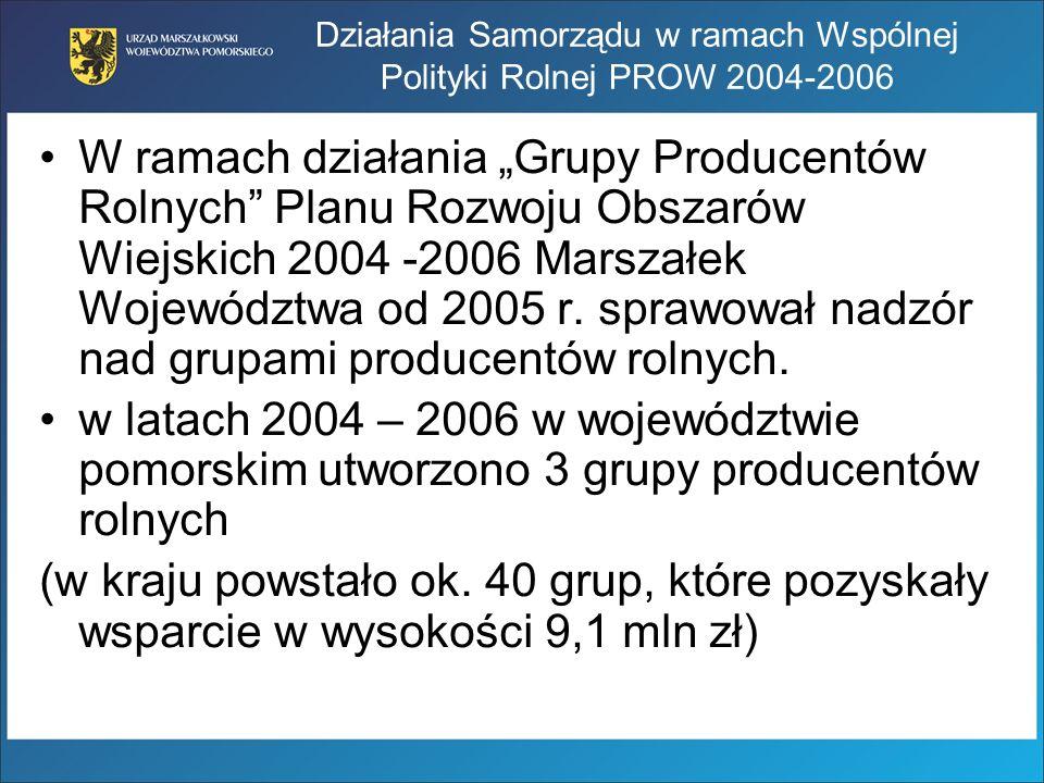 Działania Samorządu w ramach Wspólnej Polityki Rolnej PROW 2004-2006