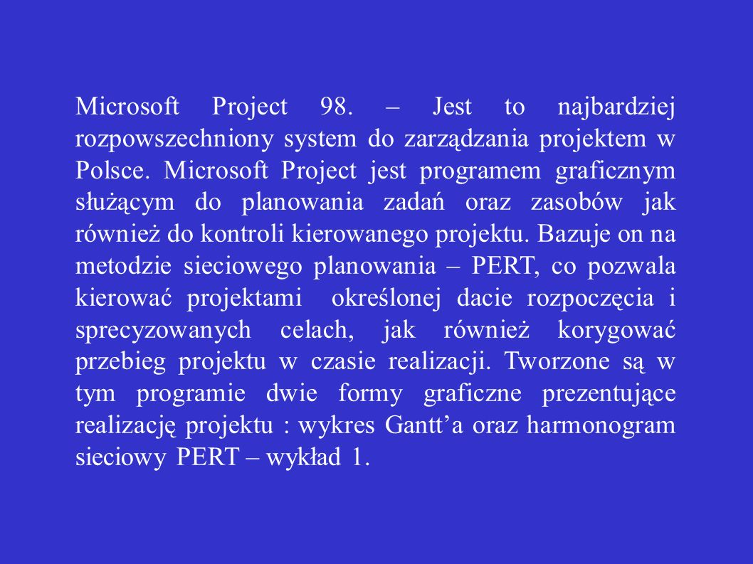Microsoft Project 98.