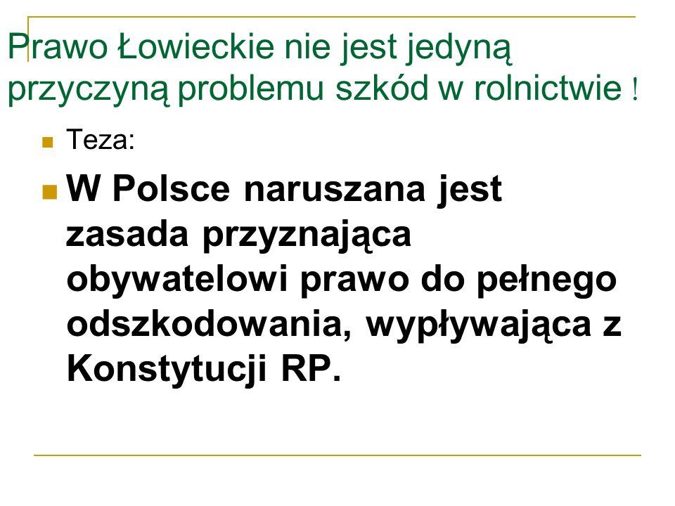 Prawo Łowieckie nie jest jedyną przyczyną problemu szkód w rolnictwie !