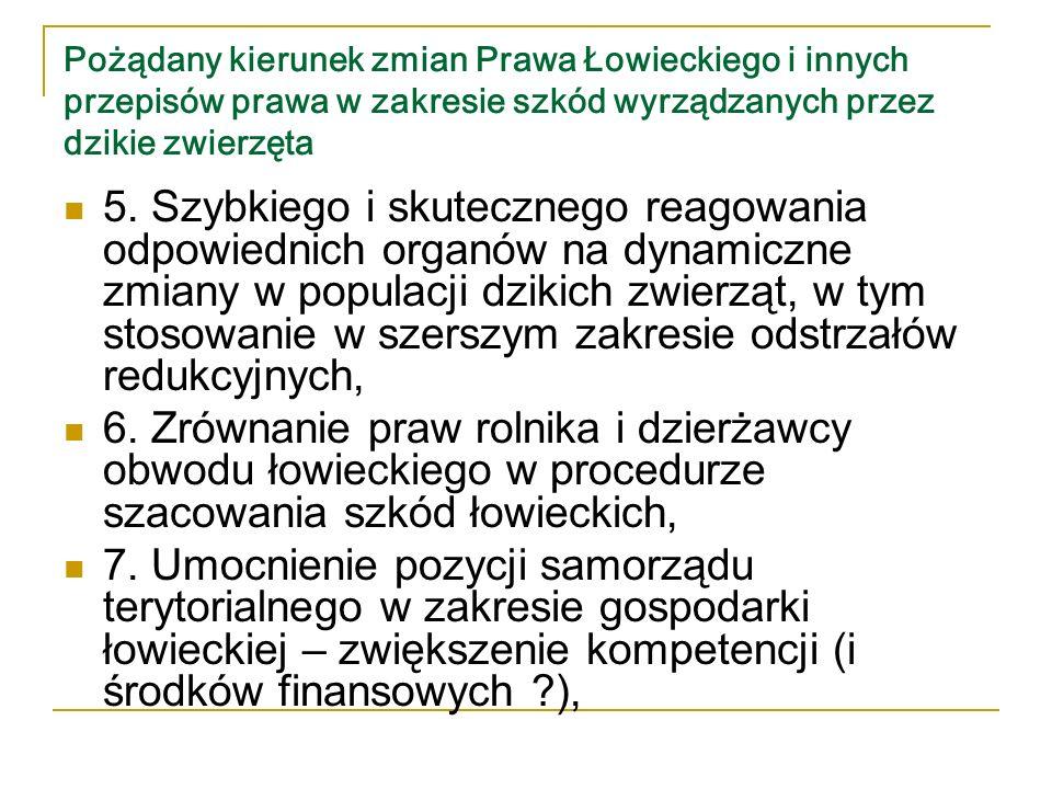 Pożądany kierunek zmian Prawa Łowieckiego i innych przepisów prawa w zakresie szkód wyrządzanych przez dzikie zwierzęta