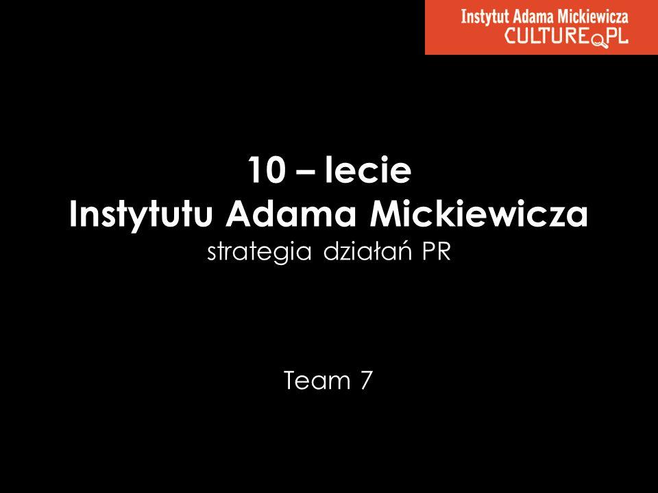10 – lecie Instytutu Adama Mickiewicza strategia działań PR