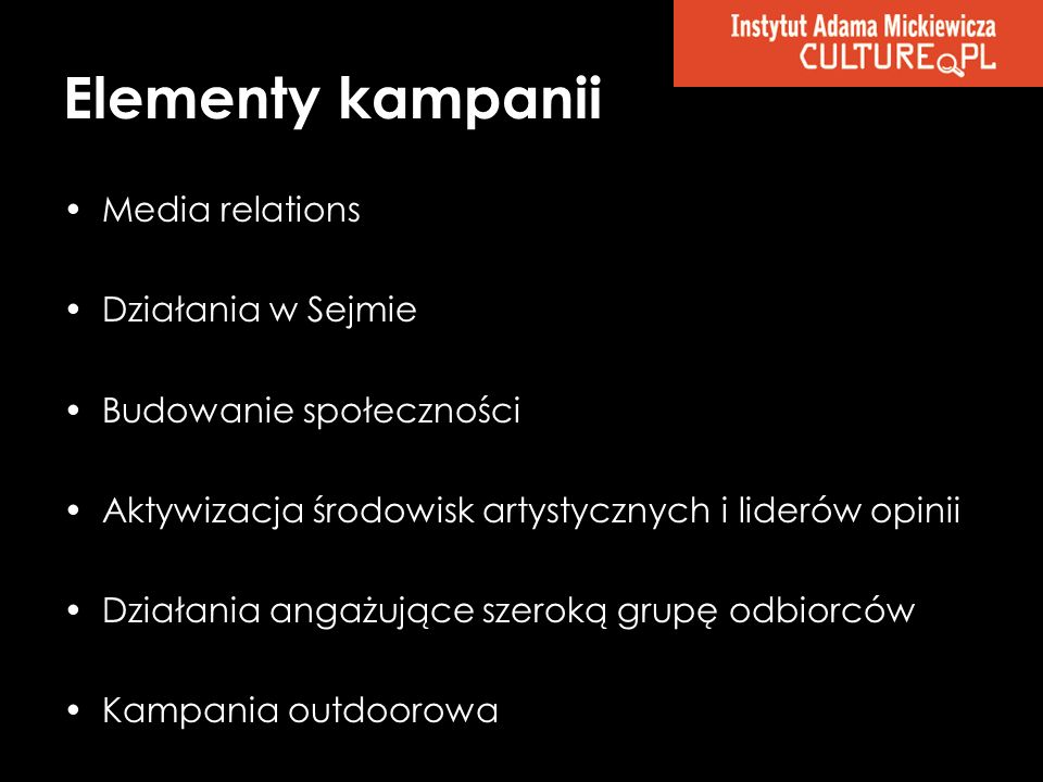 Elementy kampanii Media relations Działania w Sejmie
