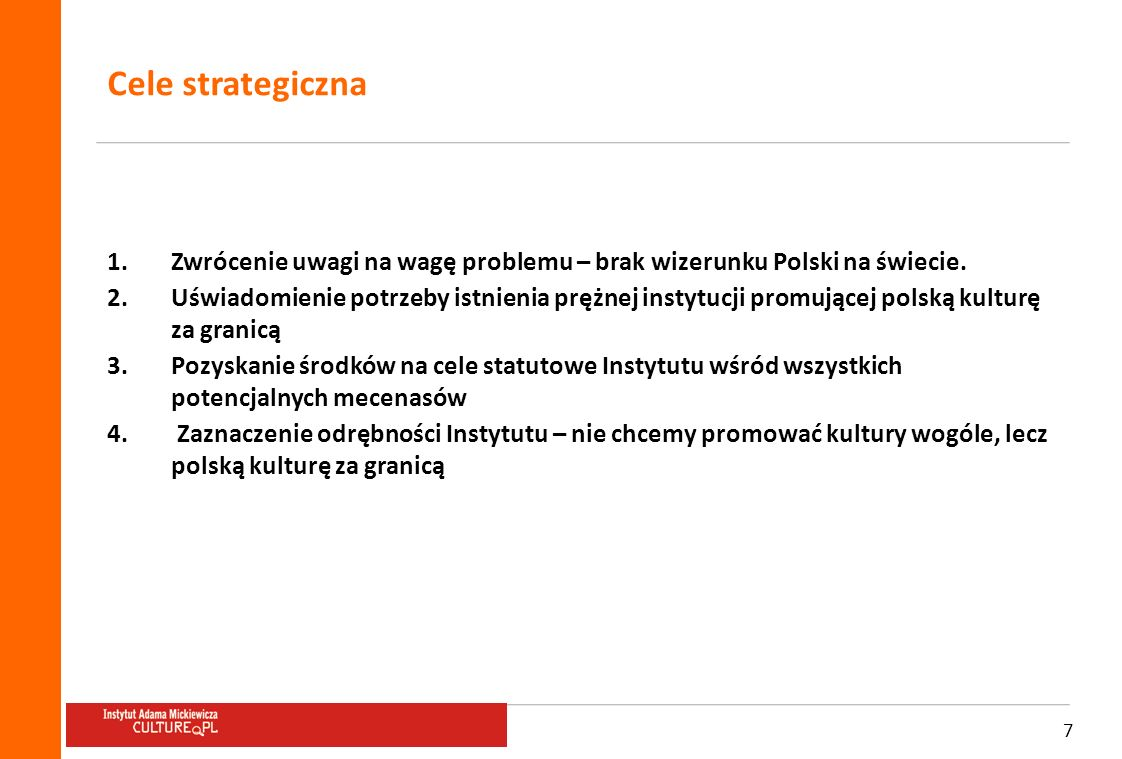 Cele strategiczna Zwrócenie uwagi na wagę problemu – brak wizerunku Polski na świecie.