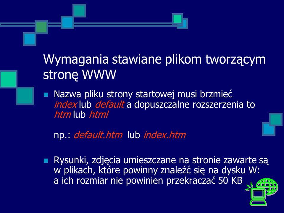 Wymagania stawiane plikom tworzącym stronę WWW