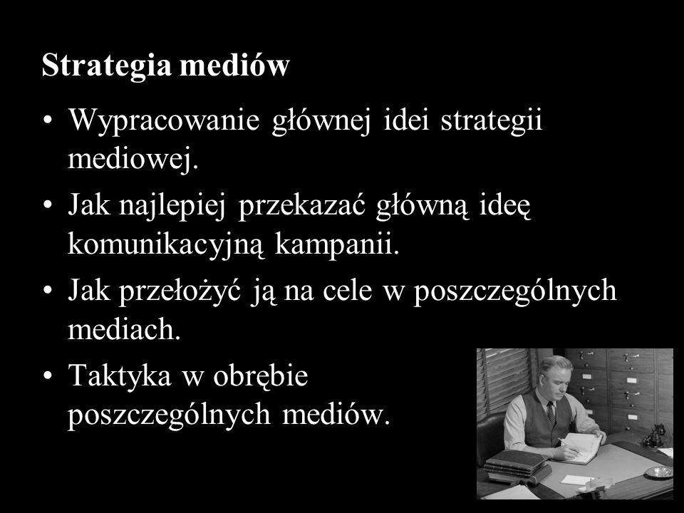 Strategia mediów Wypracowanie głównej idei strategii mediowej.