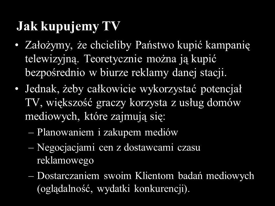 Jak kupujemy TV Założymy, że chcieliby Państwo kupić kampanię telewizyjną. Teoretycznie można ją kupić bezpośrednio w biurze reklamy danej stacji.