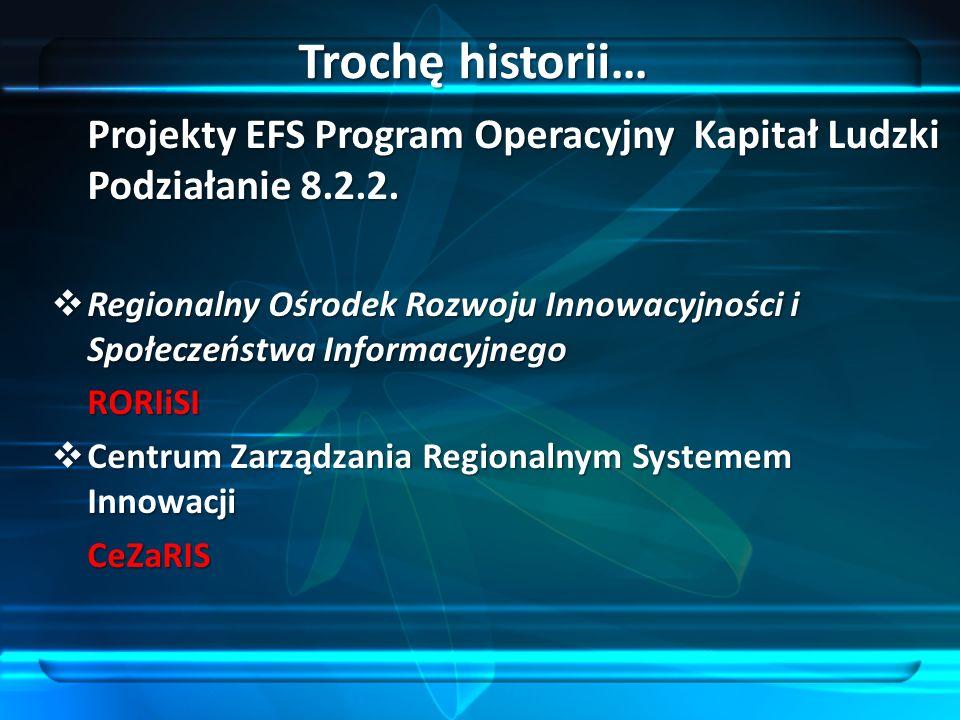 Trochę historii… Projekty EFS Program Operacyjny Kapitał Ludzki Podziałanie 8.2.2.
