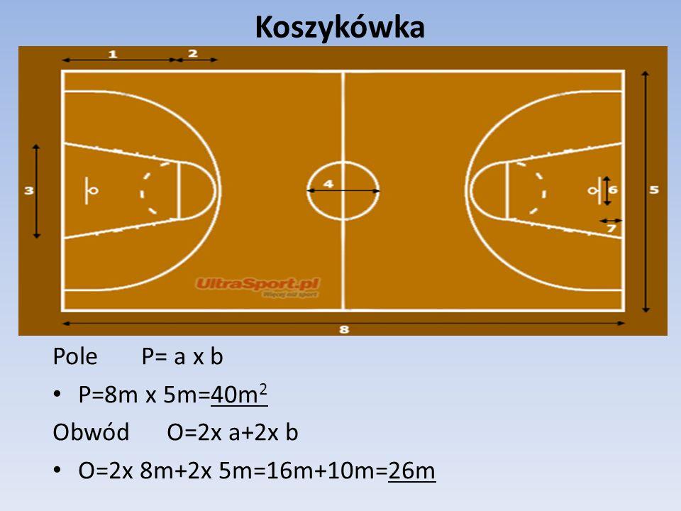 Koszykówka Pole P= a x b P=8m x 5m=40m2 Obwód O=2x a+2x b