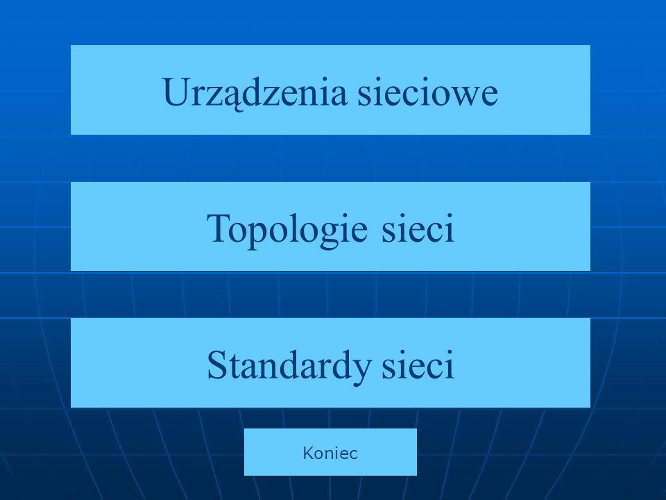 Urządzenia sieciowe Topologie sieci Standardy sieci Koniec