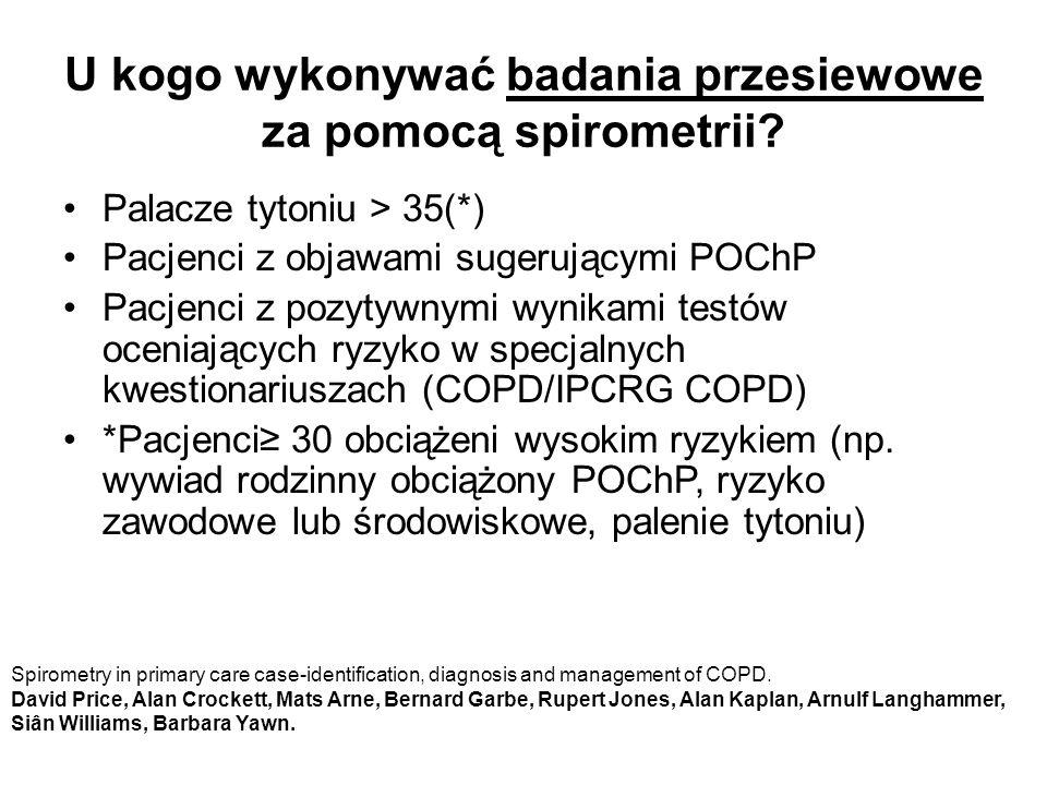 U kogo wykonywać badania przesiewowe za pomocą spirometrii