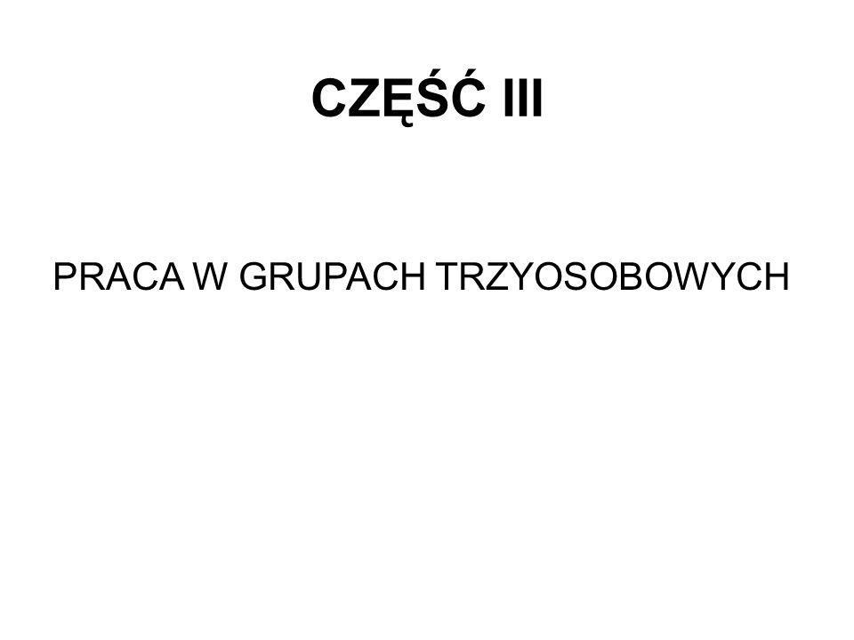 CZĘŚĆ III PRACA W GRUPACH TRZYOSOBOWYCH