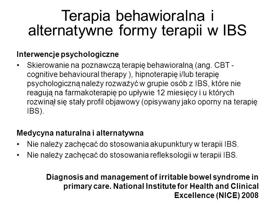 Terapia behawioralna i alternatywne formy terapii w IBS