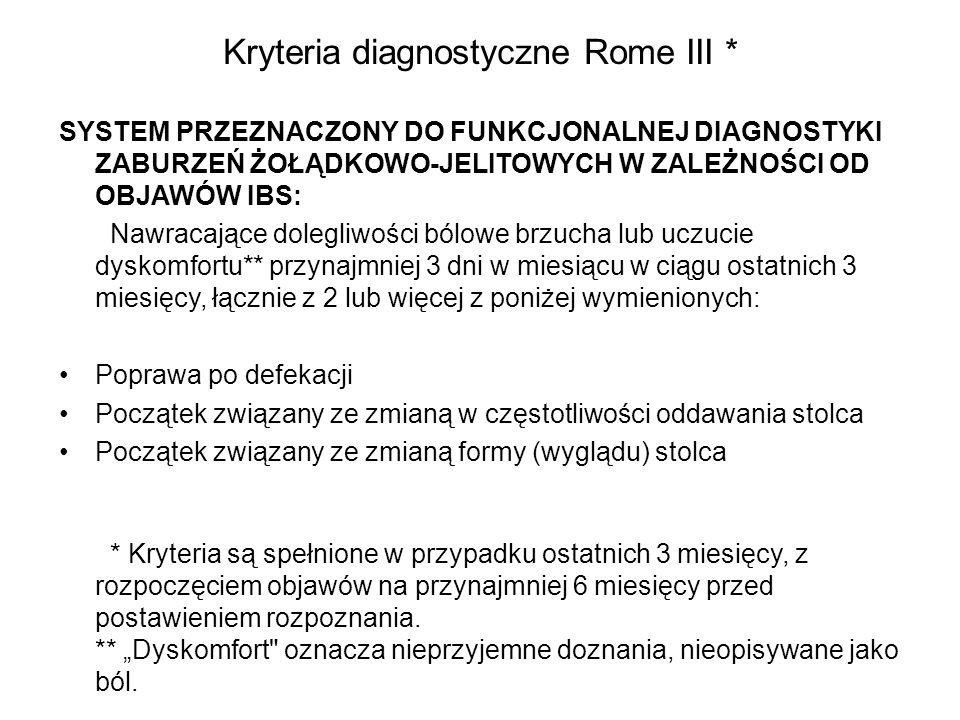 Kryteria diagnostyczne Rome III *