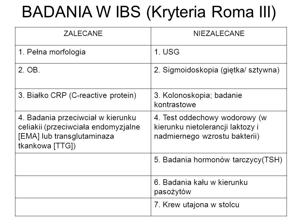 BADANIA W IBS (Kryteria Roma III)