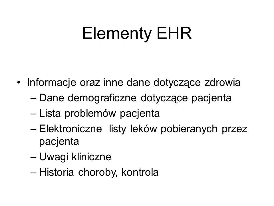 Elementy EHR Informacje oraz inne dane dotyczące zdrowia