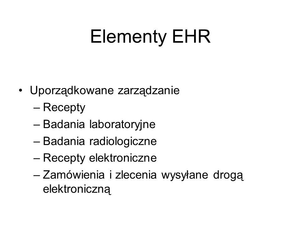 Elementy EHR Uporządkowane zarządzanie Recepty Badania laboratoryjne