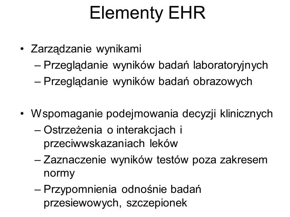 Elementy EHR Zarządzanie wynikami