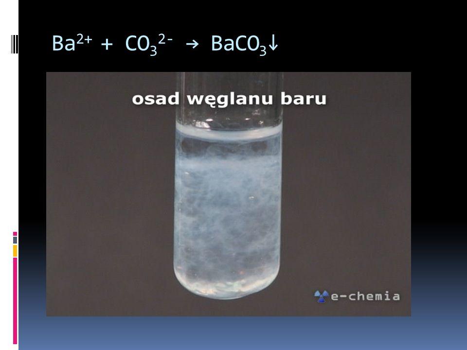 Ba2+ + CO32- → BaCO3↓