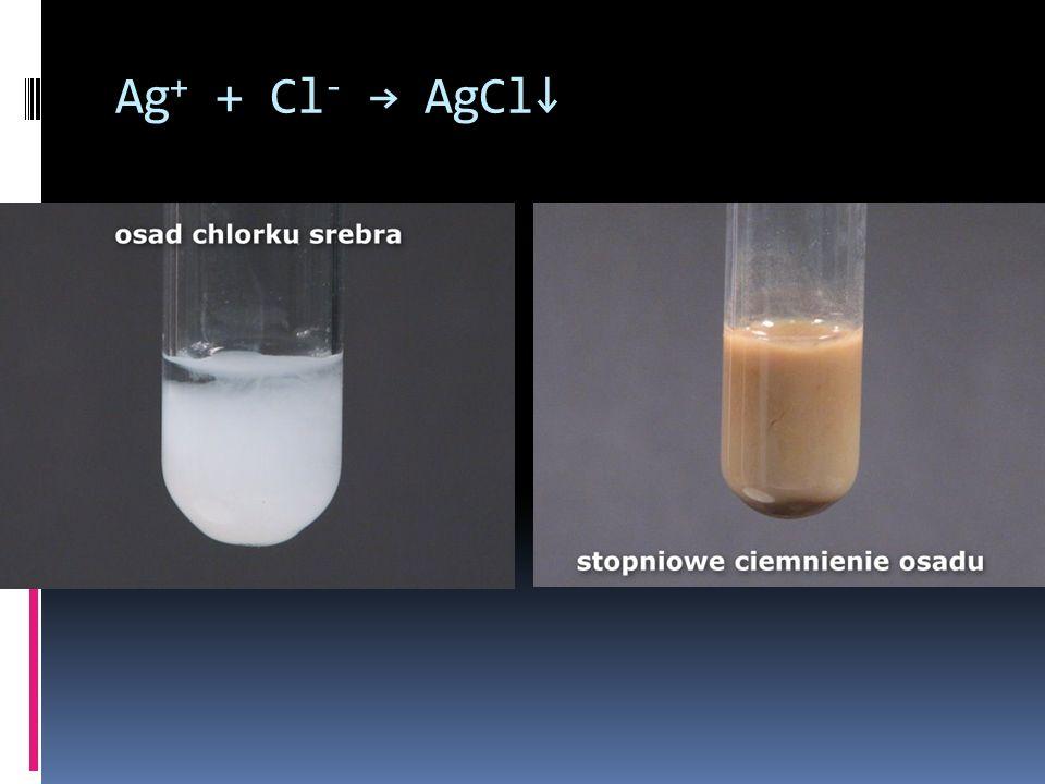 Ag+ + Cl- → AgCl↓