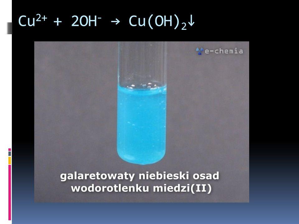 Cu2+ + 2OH- → Cu(OH)2↓