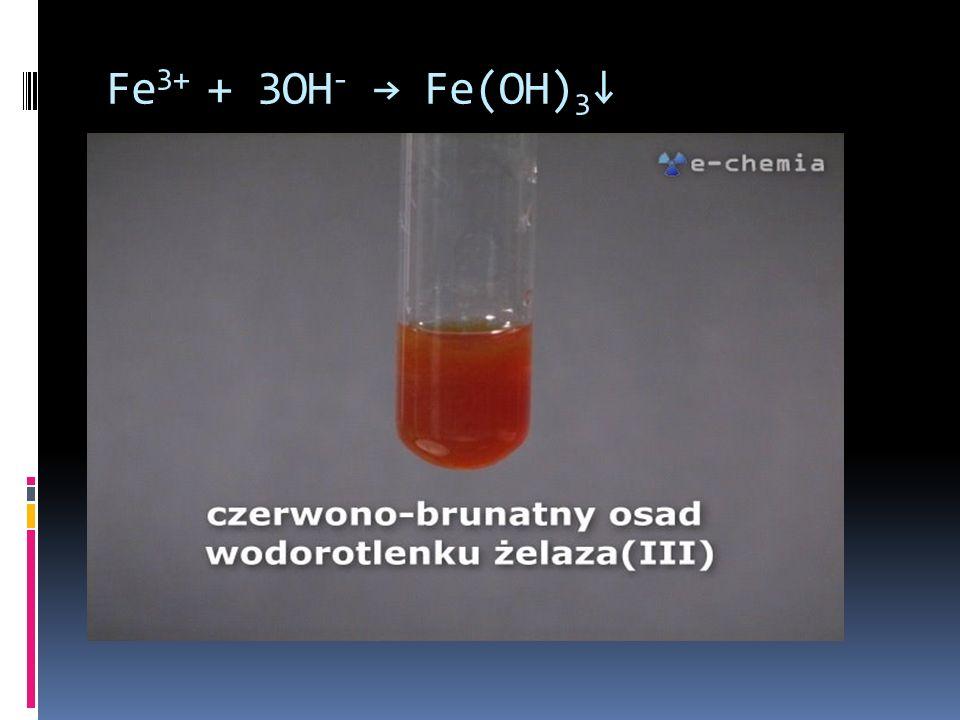 Fe3+ + 3OH- → Fe(OH)3↓