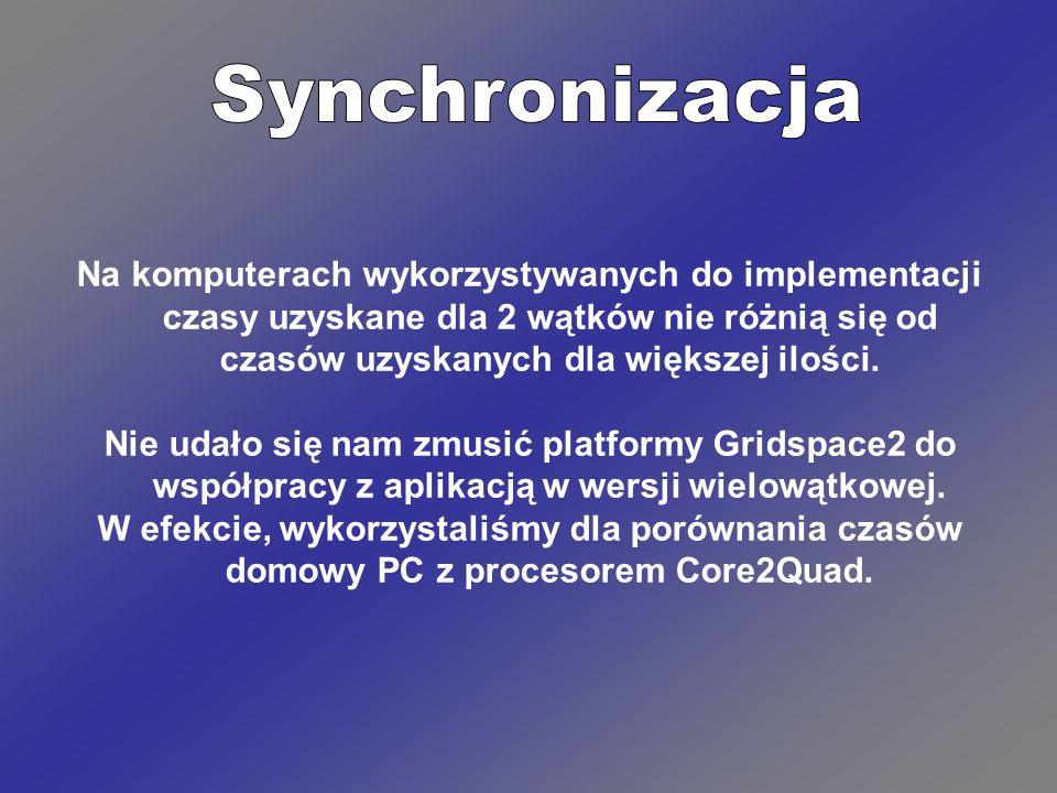 Synchronizacja Na komputerach wykorzystywanych do implementacji czasy uzyskane dla 2 wątków nie różnią się od czasów uzyskanych dla większej ilości.