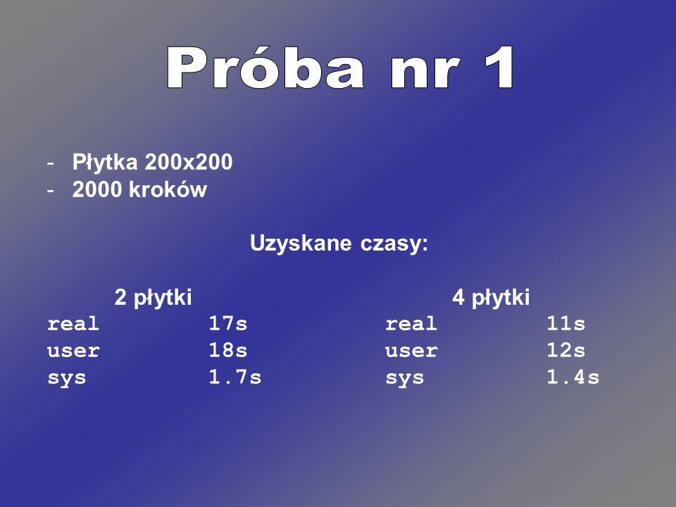 Próba nr 1 Płytka 200x200 2000 kroków Uzyskane czasy: