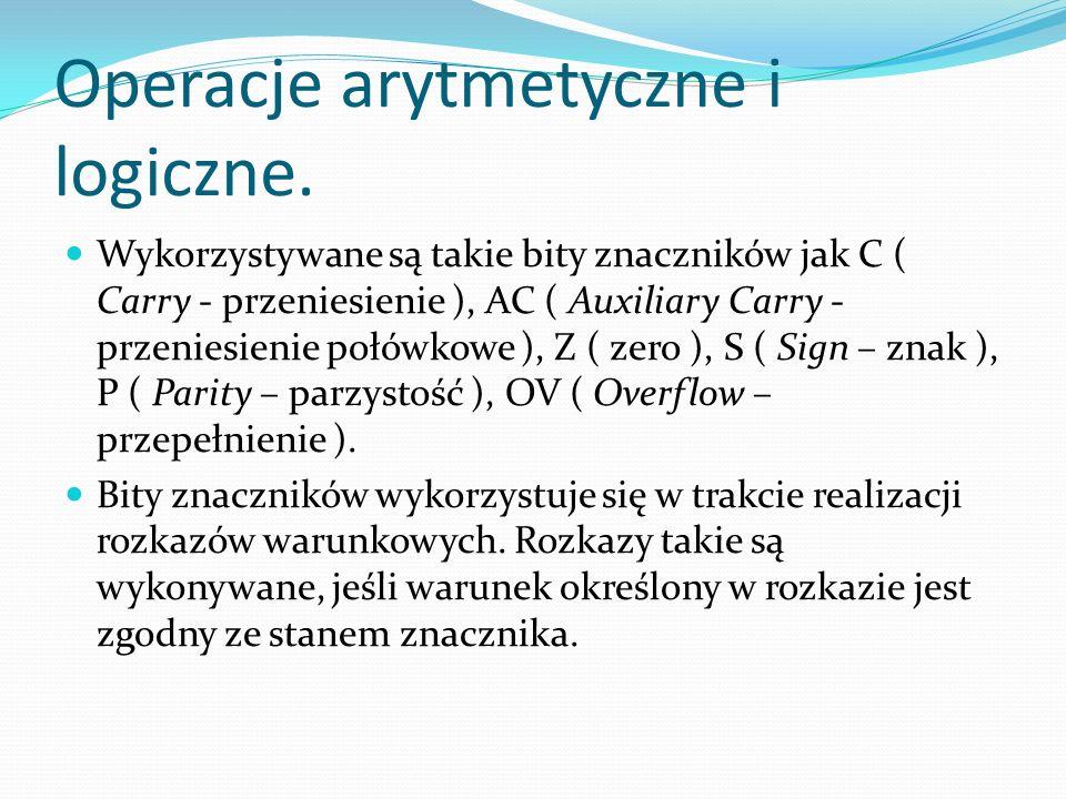 Operacje arytmetyczne i logiczne.