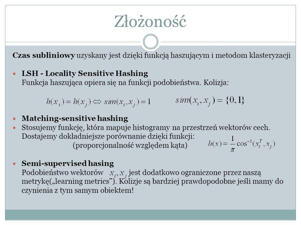 Złożoność Czas subliniowy uzyskany jest dzięki funkcją haszującym i metodom klasteryzacji. LSH - Locality Sensitive Hashing.