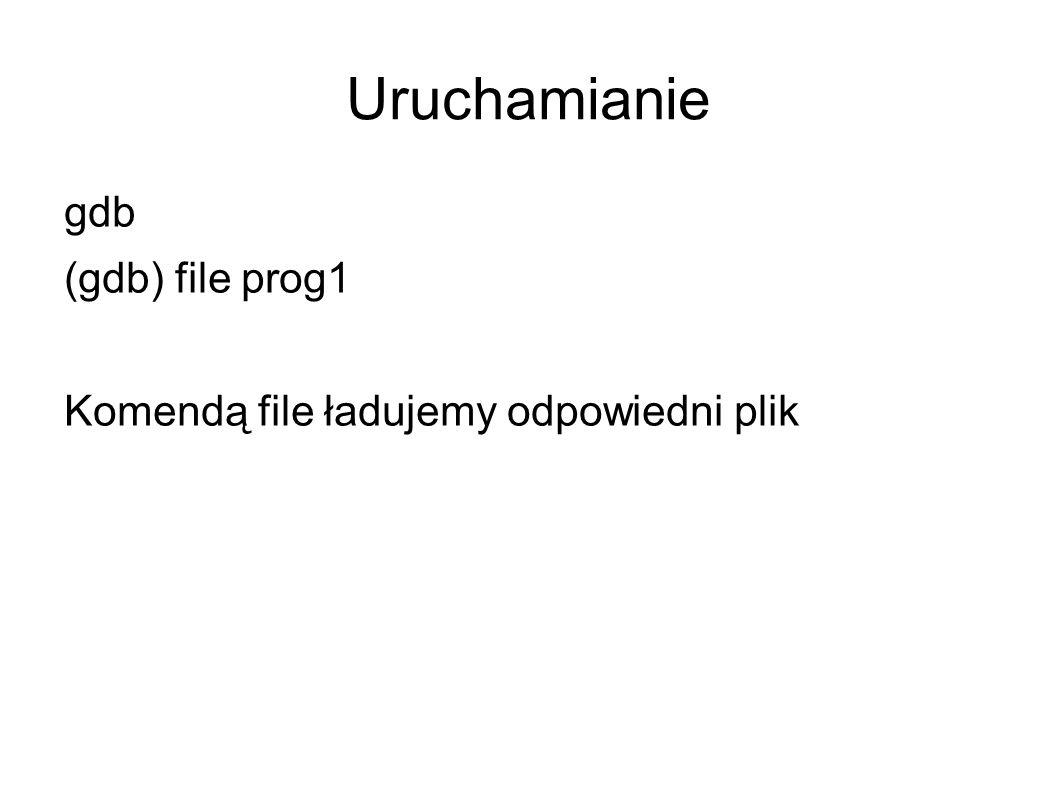 Uruchamianie gdb (gdb) file prog1