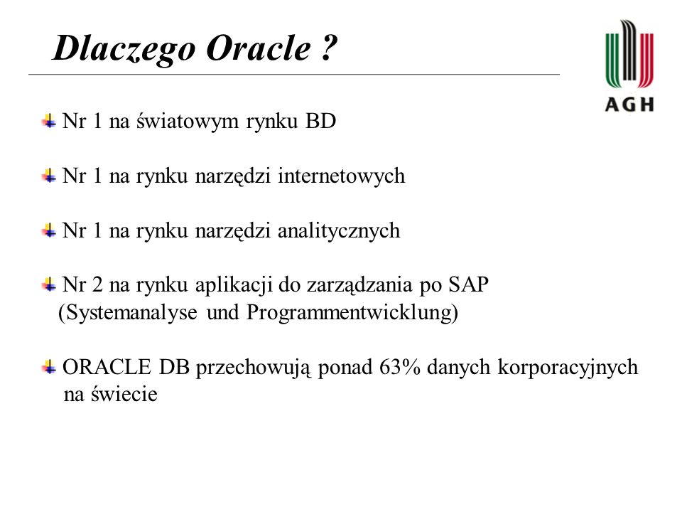 Dlaczego Oracle Nr 1 na światowym rynku BD