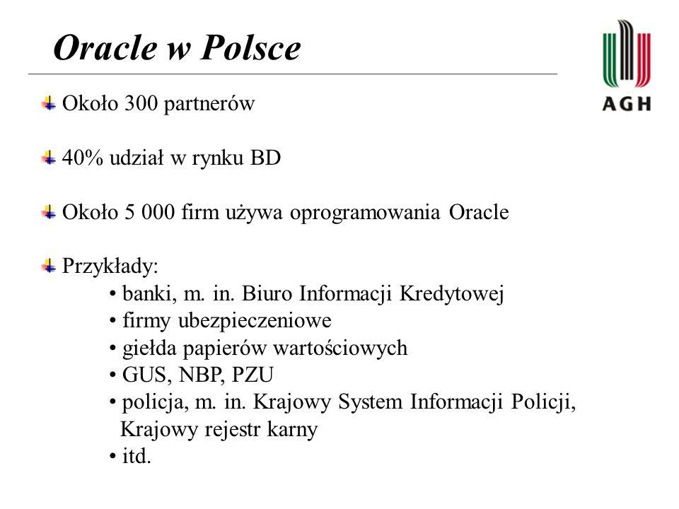Oracle w Polsce Około 300 partnerów 40% udział w rynku BD