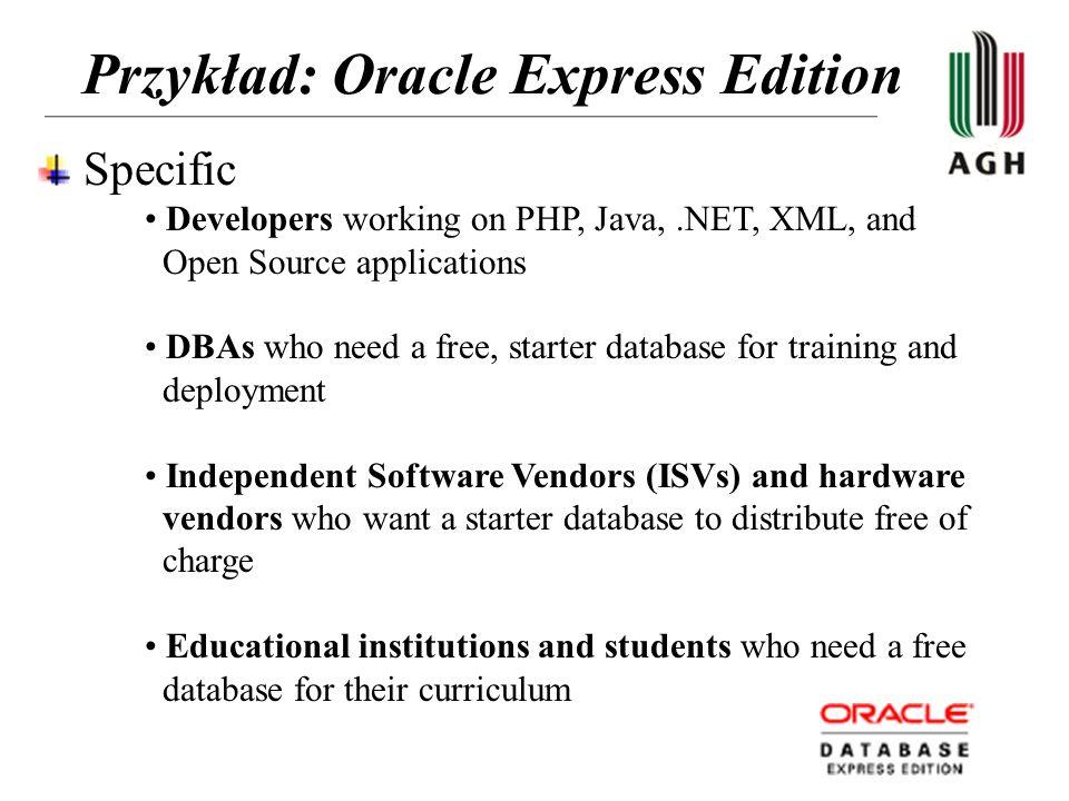Przykład: Oracle Express Edition