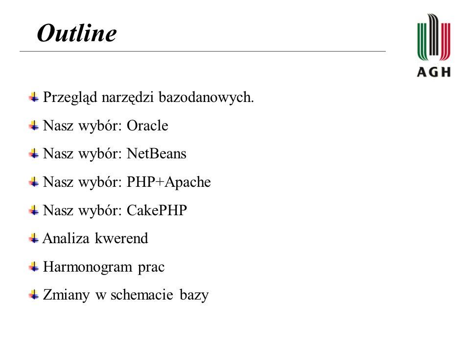 Outline Przegląd narzędzi bazodanowych. Nasz wybór: Oracle