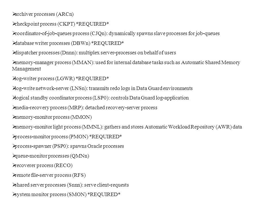 archiver processes (ARCn)