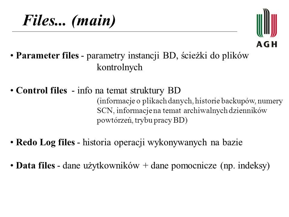 Files... (main) Parameter files - parametry instancji BD, ścieżki do plików kontrolnych. Control files - info na temat struktury BD.