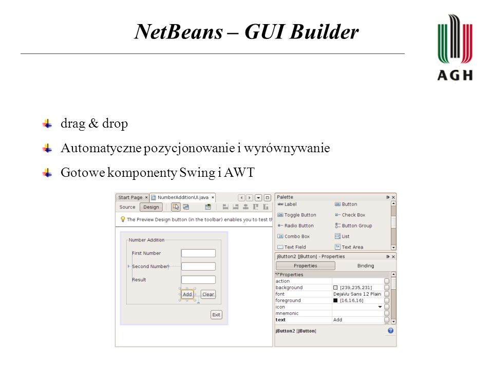 NetBeans – GUI Builder drag & drop