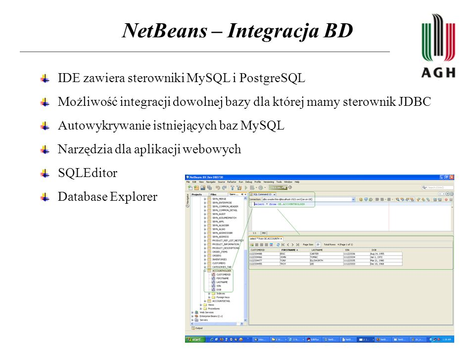 NetBeans – Integracja BD