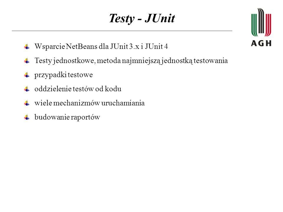 Testy - JUnit Wsparcie NetBeans dla JUnit 3.x i JUnit 4