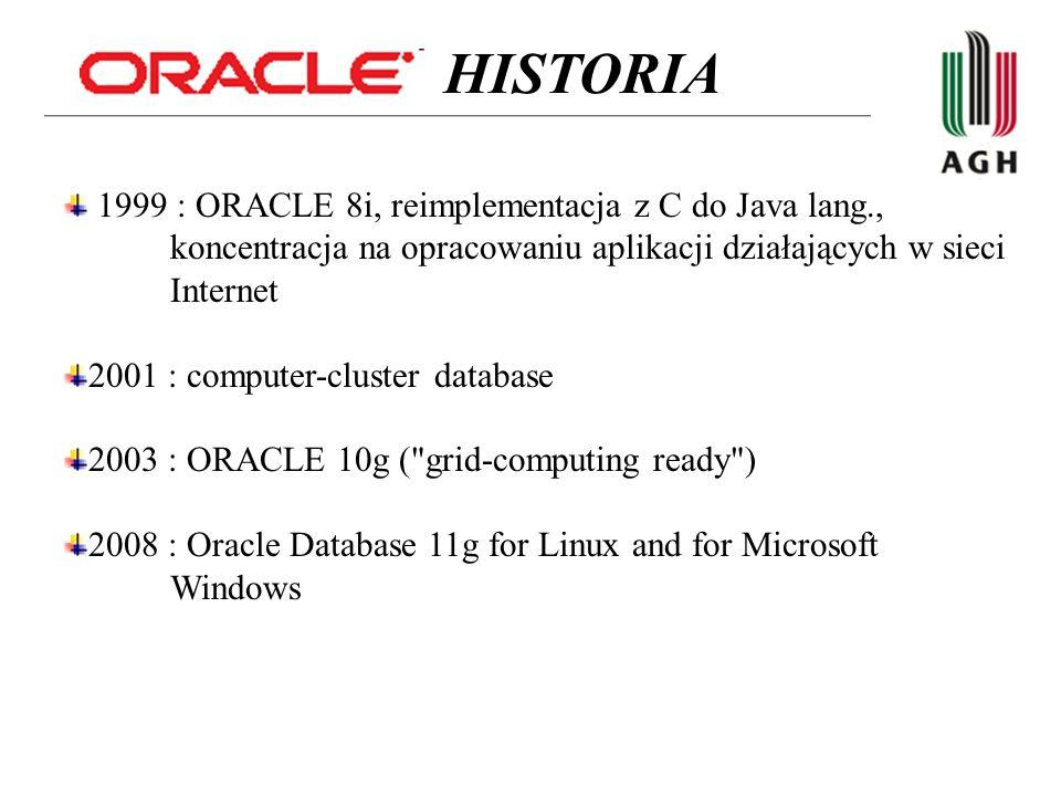 HISTORIA 1999 : ORACLE 8i, reimplementacja z C do Java lang., koncentracja na opracowaniu aplikacji działających w sieci Internet.