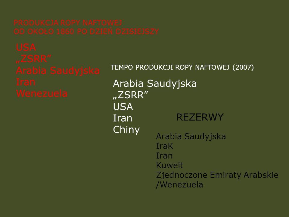 "USA ""ZSRR Arabia Saudyjska Iran Wenezuela Arabia Saudyjska ""ZSRR USA"