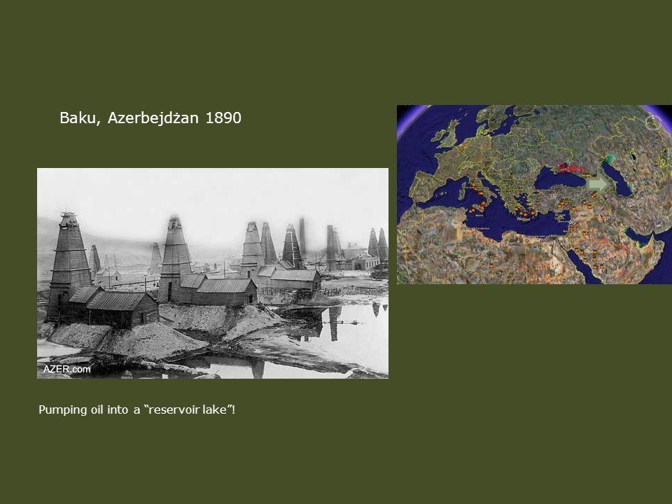 Baku, Azerbejdżan 1890 Baku Pumping oil into a reservoir lake !