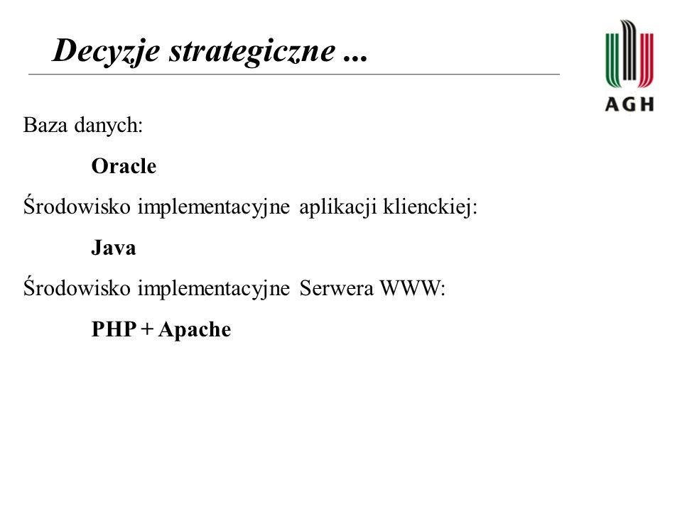 Decyzje strategiczne ... Baza danych: Oracle