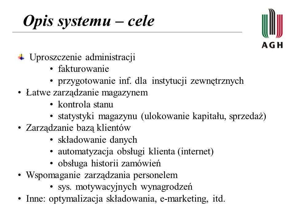 Opis systemu – cele Uproszczenie administracji • fakturowanie