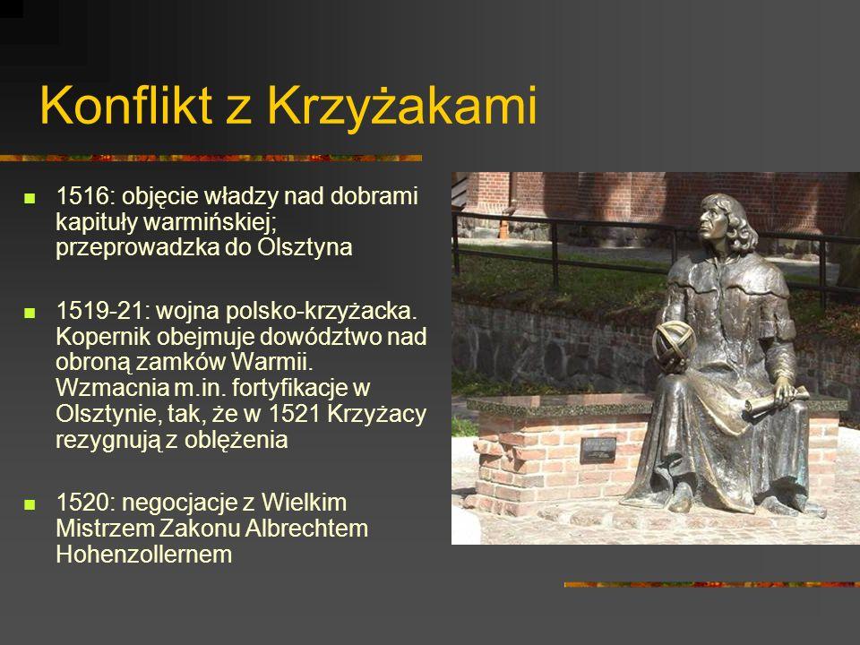 Konflikt z Krzyżakami 1516: objęcie władzy nad dobrami kapituły warmińskiej; przeprowadzka do Olsztyna.