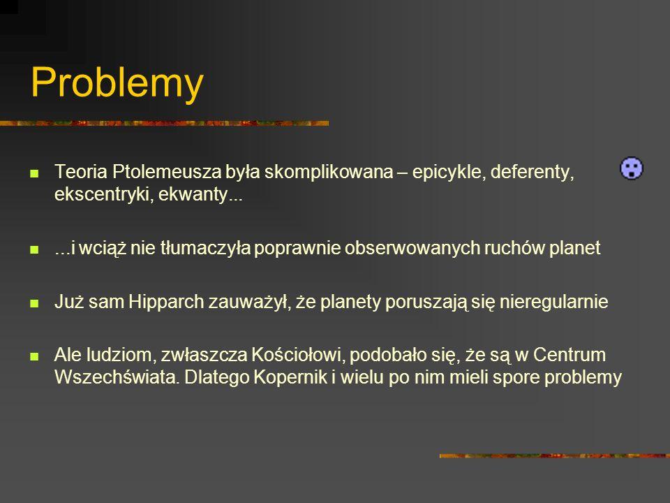 Problemy Teoria Ptolemeusza była skomplikowana – epicykle, deferenty, ekscentryki, ekwanty...