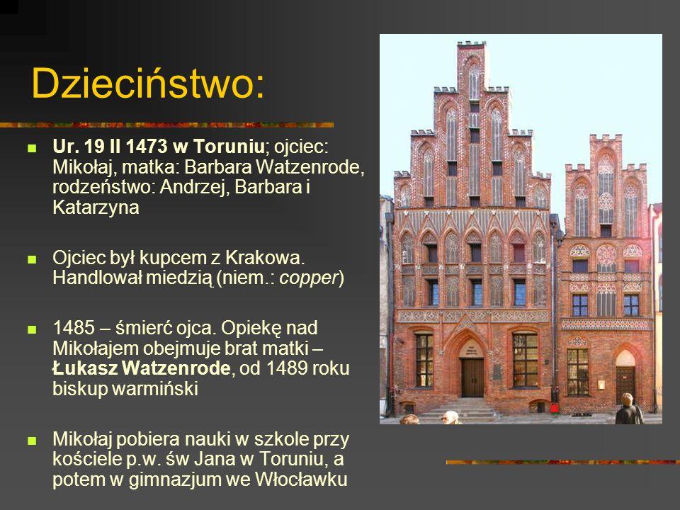 Dzieciństwo: Ur. 19 II 1473 w Toruniu; ojciec: Mikołaj, matka: Barbara Watzenrode, rodzeństwo: Andrzej, Barbara i Katarzyna.