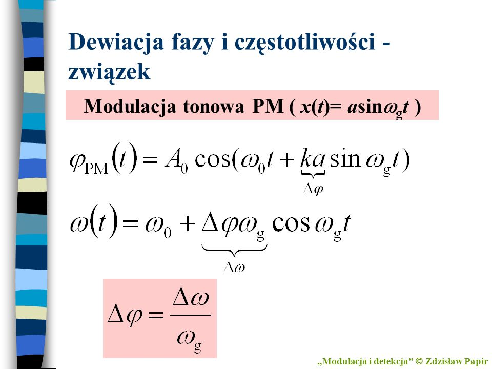 Dewiacja fazy i częstotliwości - związek
