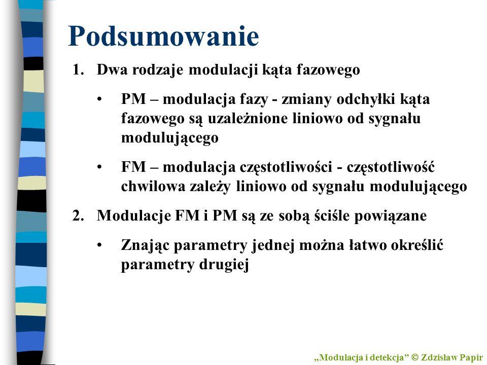 Podsumowanie Dwa rodzaje modulacji kąta fazowego